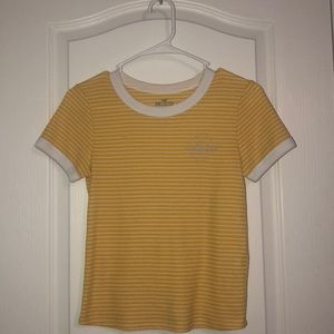 yellow striped hollister tee shirt